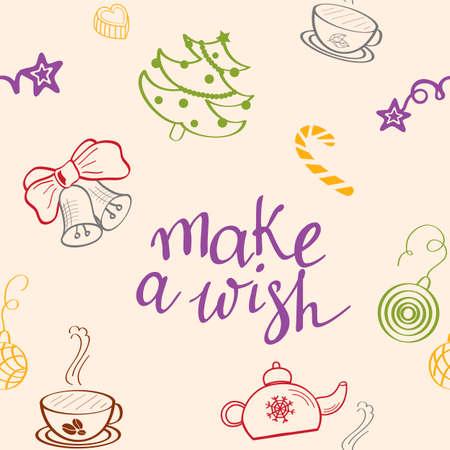Make a wish, seamless pattern. Spruce, lollipop, teapot, cup, kettle, coffee, bells. Winter festive background. Christmas texture. Illustration