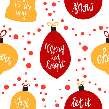 Merry Christmas, seamless pattern. Festoon lights with holiday lettering. Merry and bright. Let it snow. Cheers. Jingle all the way. Winter holidays, colorful background. New Year texture. Illustration