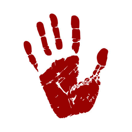 Handprint vector illustration. Human palm and fingers. Stop sign. Image of hand imprint isolated on white background. Warning and prevention.