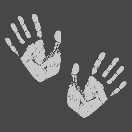 Handprint vector illustration. Human palm and fingers. Hand imprints on dark background. Creative image. Illustration