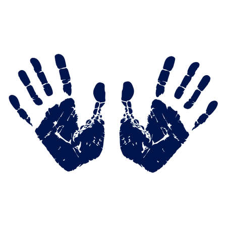 Handprint vector illustration. Human palm and fingers. Image of two hand imprints isolated on white background.