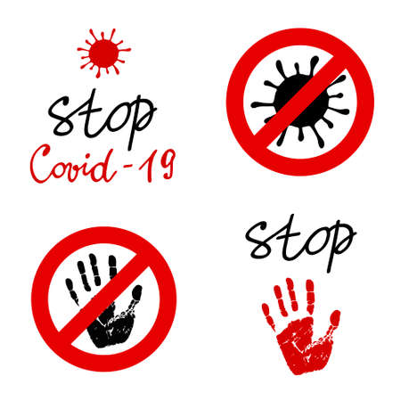 Stop Covid-19 labels. Social distancing. Prohibition sign with handprint. Stock vector illustrations set. Keep safe distance. The world pandemic of coronavirus disease. Illustration
