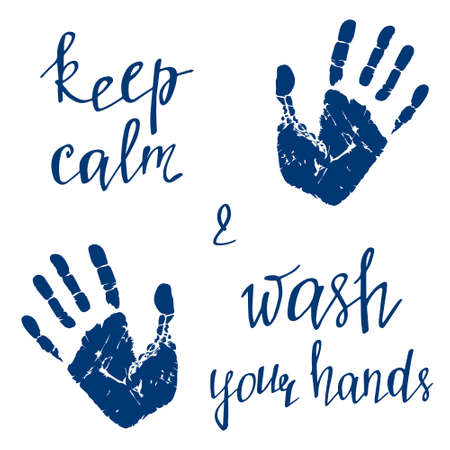 Wash your hands. Handprint vector illustration isolated on white background. The world pandemic of coronavirus disease. Keep calm and wash your hands. Illustration