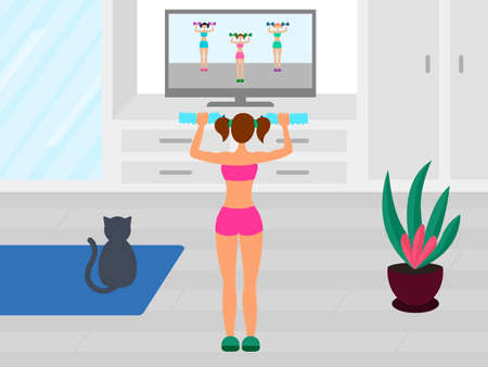Woman does a workout while watching TV. Online fitness training. Physical exercises at home. Stock vector illustration.