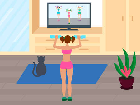 Online fitness training. Woman does a workout while watching TV. Physical exercises at home. Stock vector illustration.