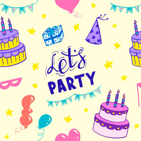Seamless pattern of cake, balloons and stars on yellow background. Let's party! Festive vector illustration of repeating background.