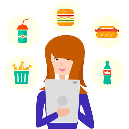 Order food online. Woman with tablet isolated on white background. Vector illustration of online shopping process. Food delivery service. Using web application. Ilustracja