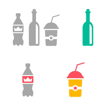Flat icons of bottles and drinks. Vector illustration of different beverages isolated on white background. Coffee cup, sparkling water, soda, wine, cappuccino, latte, cola.