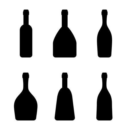 Silhouetten der Flaschen, Vektorillustration. Verschiedene Arten von alkoholischen Getränken.