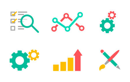 Vector illustration of business icons in flat design style. Development and marketing theme. Business analytics, information technology, web design. Illustration
