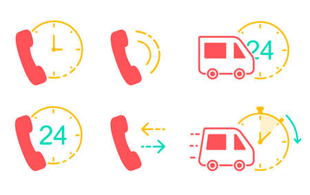 Icons for delivery service and call-center. Customer support service of shipping company. Vector illustrations in line art style. Illustration