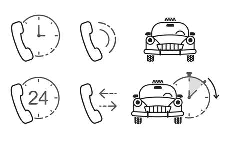 Icons for taxi service and call-center. Vector illustrations in line art style. Customer support service.