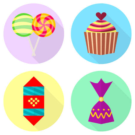 Flat icons of cupcake, lollipop and chocolate candy. Vector illustrations of sweets. Illustration
