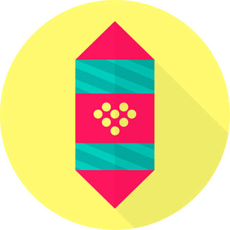 Flat icon of chocolate candy wrapped in decorative paper. Festive vector illustration of sweets.