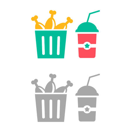 Vector illustrations of bucket with fried chicken and drinks isolated on white background. Flat icons of fast food. Chicken menu with soda.