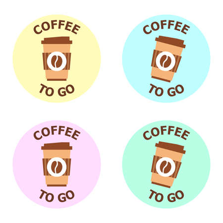 Vector illustration for coffee to go restaurant. Logotype for coffee shop with take away. Business theme.