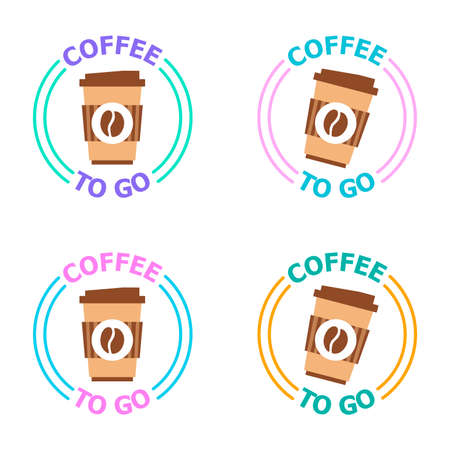 Logotype for coffee shop with take away. Vector illustration for coffee to go restaurant isolated on white background. Business theme. Illustration