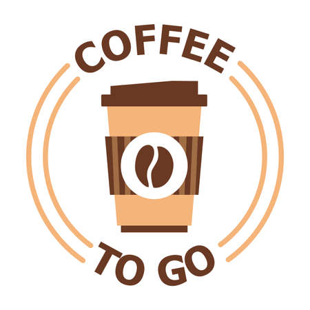Logotype for coffee shop with take away. Vector illustration of coffee to go isolated on white background. Business theme.