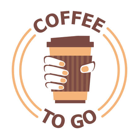 Flat icon of coffee cup in the hand. Vector illustration of coffee to go logotype template isolated on white background. Coffee shop with take away. Business theme. Illustration