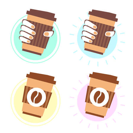 Vector illustration of coffee cup in the hand. Logotype for coffee to go restaurant. Coffee shop with take away. Business theme.