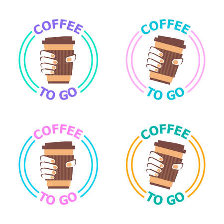 Logotype for coffee to go restaurant. Coffee shop with take away. Vector illustration of coffee cup in the hand. Business theme.