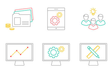 Business analytics, information technology, web design. Vector illustration of business icons in line art. Development and marketing theme. Creating of web applications. Illustration