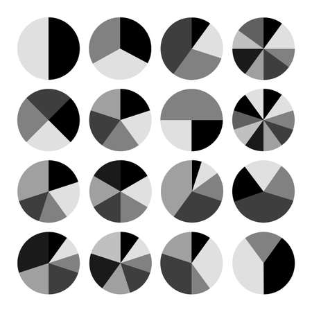 Set of monochrome pie charts. Circular diagrams and graphs. Business and analytics.