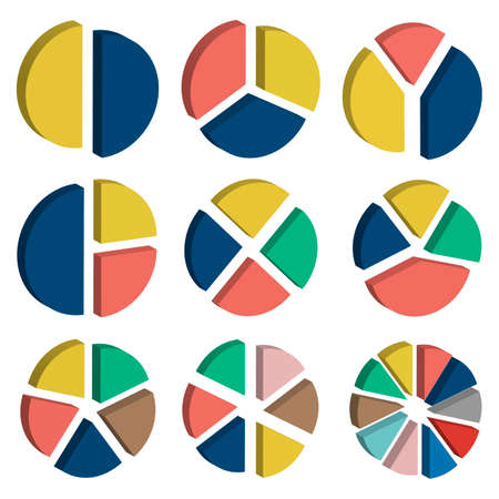 Set of colorful 3D pie charts. Circular diagrams and graphs. Business and analytics.