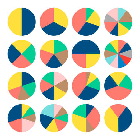 Set of colorful pie charts. Circular diagrams and graphs. Business and analytics.