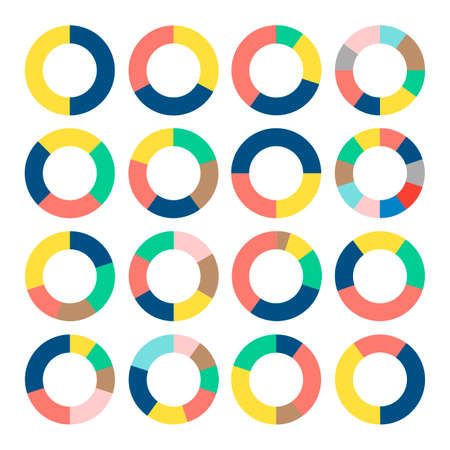 Set of colorful donut charts. Circular diagrams, graphs, pie charts. Business and analytics. Illustration