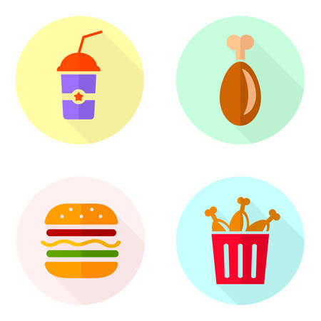 Vector illustrations of fried chicken, burger and beverage isolated on white background. Meat menu with drinks. Flat icons of fast food for online restaurant.