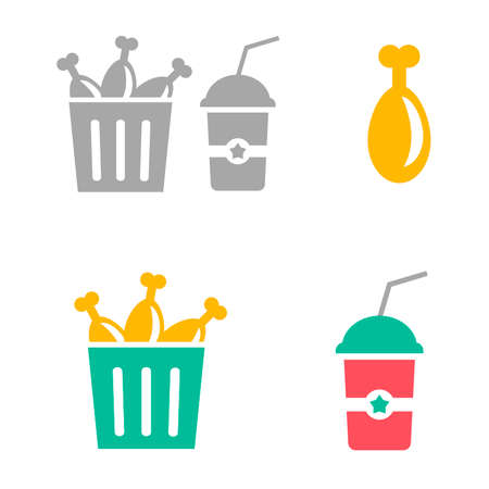 Flat icons of fast food. Vector illustrations of bucket with fried chicken and beverage isolated on white background. Chicken menu with cola.