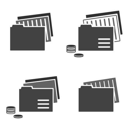 Flat icons of catalog and folders. Business and information technology theme. Vector illustration of documents. Accounting department