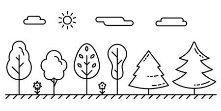 Different kinds of trees in line art style. Vector illustration of plants in the forest. The weather and times of year. Illustration