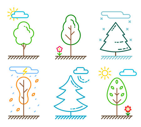 Different kinds of trees in line art style. The weather and times of year. Vector illustration of plants and nature. Ecosystem icon set.