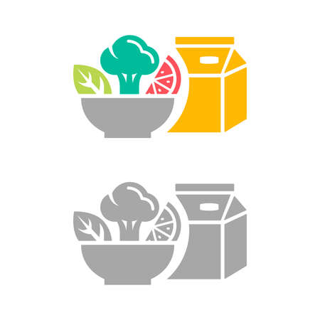 Flat icons of healthy food. Vector illustrations of salad, vegetables and yoghurt isolated on white background. Organic meal for healthy nutrition.