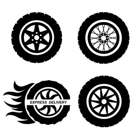 Different kinds of complete wheels and car tires. Steel and alloy rims. Express delivery icon. Vector illustration of tires isolated on white background.