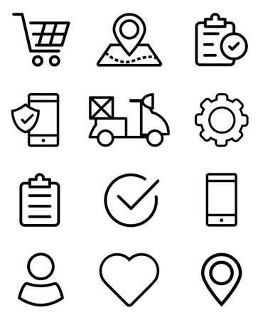 Set of business icons in line-art style. Food ordering and delivery. Vector illustrations for online shop. Illustration