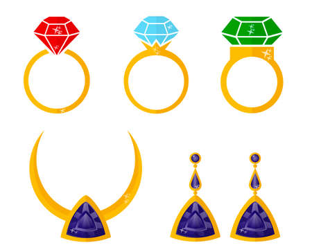 Fashionable jewelry: rings, necklace, earrings with gemstones. Luxury collection of precious. Vector illustration in flat design style.