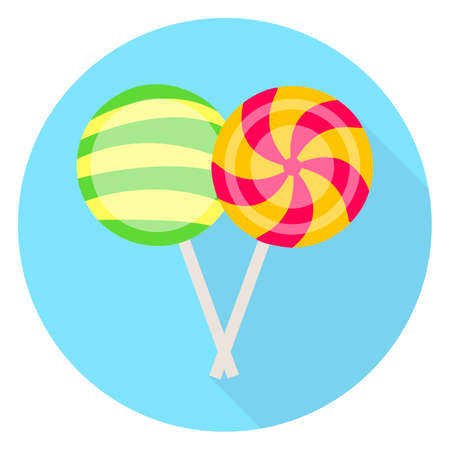 Flat icon of lollipops. Festive vector illustration of sweets.