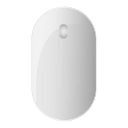 White modern computer mouse. Input device for hand manipulation isolated on white background. Hardware product.