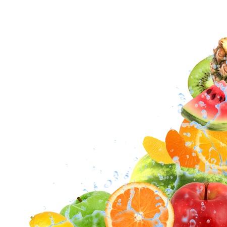 splash mixed: Fresh fruit with splash isolated on white Stock Photo