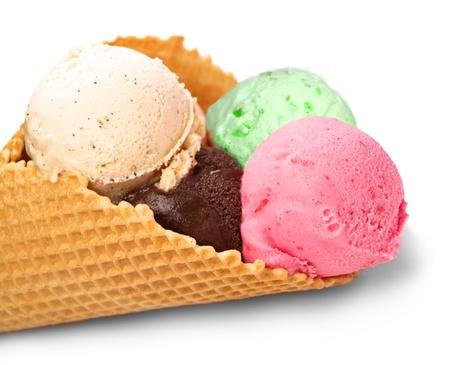 cream and green: Ice cream isolated on white