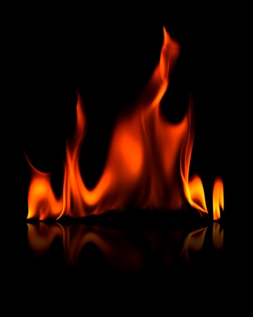 Flame with reflection isolated on black Stock Photo - 13391653