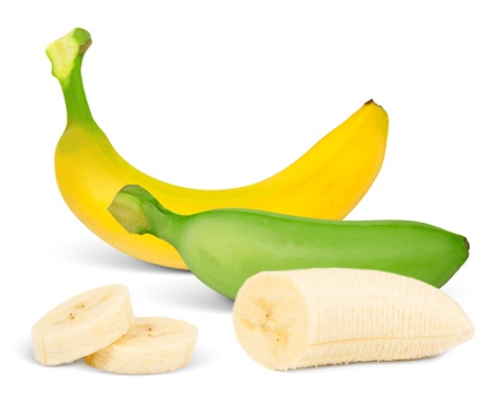 banana slice: Banana with slices isolated on white