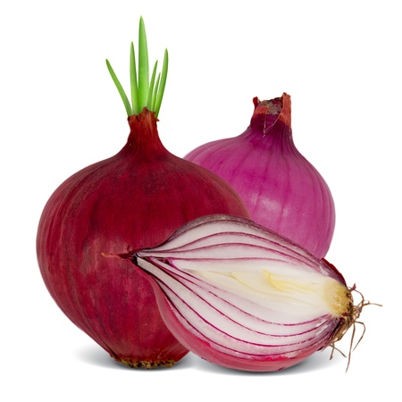 onion peel: Photo of red onion with slice isolated on white