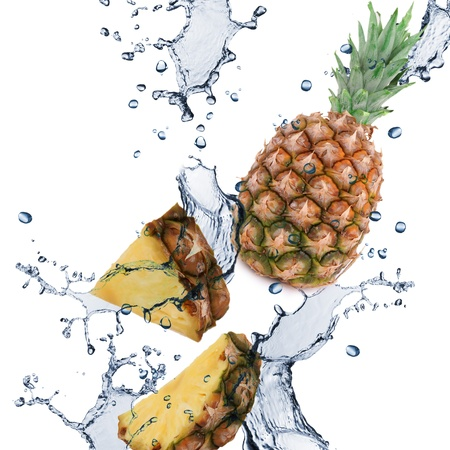 cold cut: Pineapple with splash isolated on white