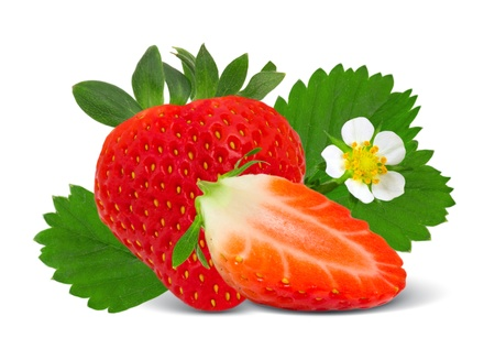 Strawberry with slice and leaves isolated on white photo