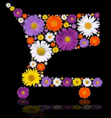 economic botany: Shopping cart made of blooms Stock Photo