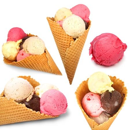 Colección de helados aislados en blanco